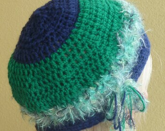 Bohemian hat green blue women's winter hat women's fashion designer hat