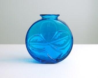 Blenko Glass Blue Clover Shamrock Vase By Wayne Husted