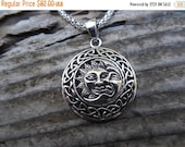 ON SALE Sun and moon necklace handmade in sterling silver