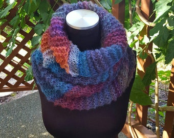 Hand Knit Infinity Cowl Scarf in Shades of Blue/Purple/Orange