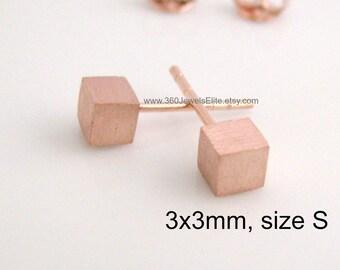 Men's stud earrings, rust box cube stud earrings, tiny square stud earrings, cartilage stud, helix stud earring, square cube earrings, 465J