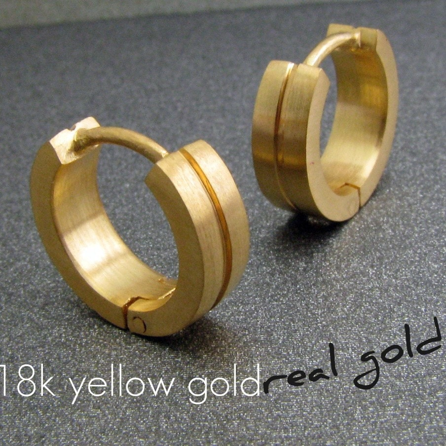 Men S Hoop Earrings Binary Solid Gold