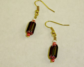 Black and Red Italian Glass Earrings