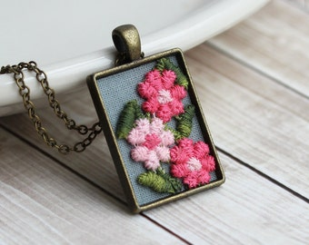 Pink Flower Necklace With Fabric, Boho Necklace, Hippie Jewelry, Vintage Trim, Floral Jewelry, Large Rectangle Pendant, Unique Gift, Women
