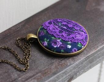 Navy Blue Purple Necklace, Purple Flower Necklace, Purple Lace Jewelry, Cute Necklace, Unique Gift for Women, Teacher, Floral Fabric Jewelry