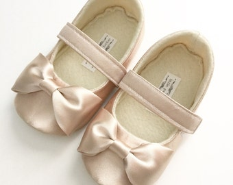Baby Girl Shoes Toddler Girl Shoes Soft Soled Shoes Wedding Shoes Mint Coral Blush Shoes Faux Dupioni Silk Flower Girl Shoes  - Everly