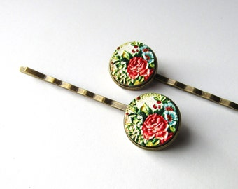 Rose Floral Bobby Pins, Pink Blue and Green Flower Hair Clips