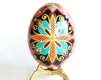 Turquoise Flowers on Black Pysanka Ukrainian Easter egg chicken egg shell batik painted