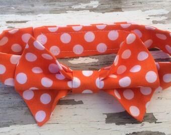 Boys Orange Polka Dot Bow Tie, Boys Orange Bow Tie, Baby Tie Photo Prop, Cake Smash Photo Prop, Ring Bearer, 1st Birthday Photo Prop