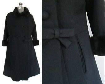 Black Winter Coat Fur Trim Side Bow Vintage Mid Century 1950s 1960s Elegance