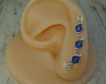 Sterling Silver Sapphire Swarovski Crystal Earvine Earrings