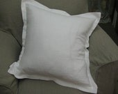 For Margaret-Tailored Pillow Shams in Heavy Washed Linen-Bright White Washed Linen Shams-Zip Closures
