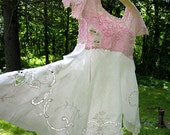 Size S - M Pink and white linen boho cottage chic Magnolia Pearl crocheted camisole for layering, festival, gypsy lace top, Lily Whitepad