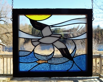 Stained Glass Herring Gull Panel with Barnboard Frame