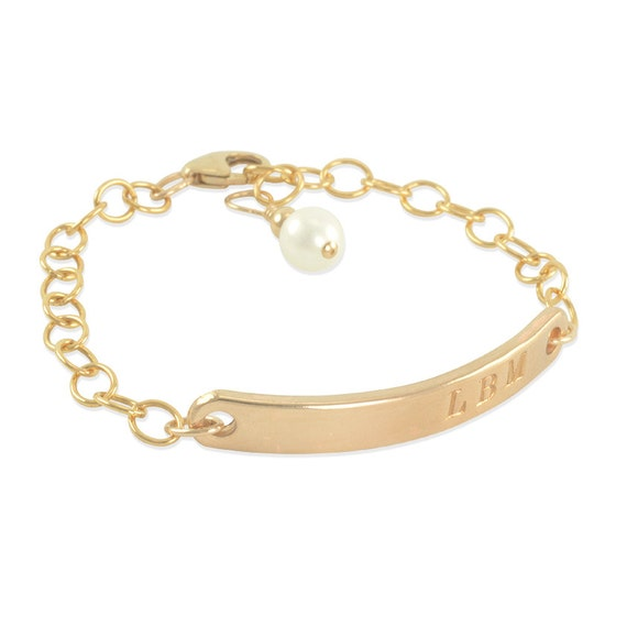 Gold ID Bracelet child stamped engraved Little Girls name