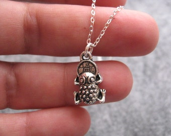 Feng Shui Frog Necklace, Frog Charm Necklace, Prosperity necklace, Silver Frog Necklace, Feng Shui Jewelry