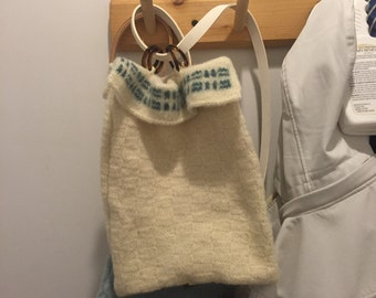 Hand knitted and felted backpack