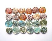 Coral Green Tabs stash handmade lampwork glass beads organic