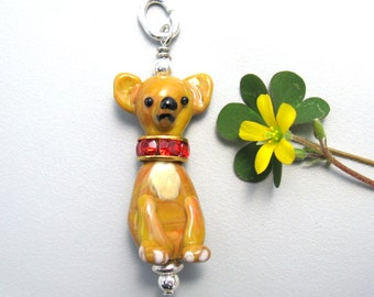 Chihuahua Pendant jewelry handmade lampwork glass dog bead totem
