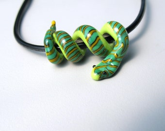 SALE Baby Green Snake Glass Lampwork Bead on black cord necklace in gift box
