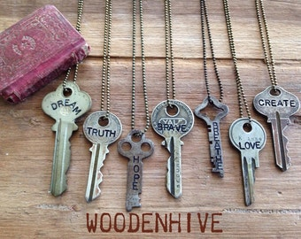 Key Necklace | Hand Stamped Vintage Key with Inspirational Word