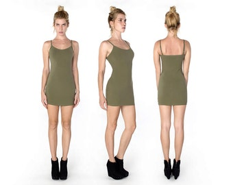 Olive Tank Dress - Tank Dress - Organic Cotton Tank Dress - Tank Mini Dress - Olive Green Dress - Army Green