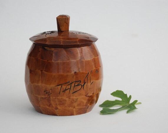 ancien pot tabac en bois tourn coffret par. Black Bedroom Furniture Sets. Home Design Ideas