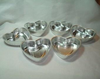 1980s Six Miniature Heart Cake Pans.