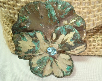 1940s Choslovokia Silver with Teal and White Pansy pin.