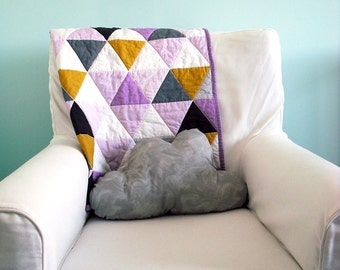 Modern Geometric Baby Quilt in Purple and Multi Color Triangles for Girls – Reversible