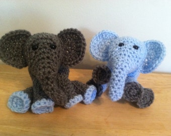Blue and grey baby elephant party favor stuffed animal, Free US Ship