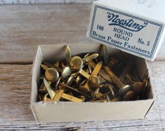 Vintage Brass Paper Fasteners // Vintage Brads // Vintage Office Supplies // Gold Noesting No. 5 Paper Fasteners