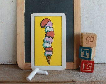 Vintage Muppets Flash Card // 1978 Muppets // EIGHT // Ice Cream Cone with Eight Scoops