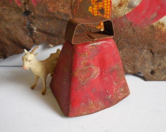 Vintage Sheep Goat bell Rusty Red Farm Salvage Primitive farmhouse Rustic Cottage herd bell