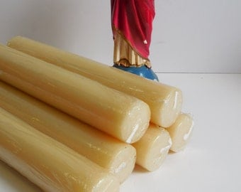 6 Church candles Beeswax Pillar Altar candle religious blessed 9 inch vintage lot candlesticks supplies