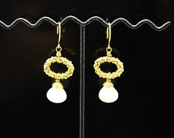 1pair(je-0214pj) - sterling silver earrings with natural jade and brass