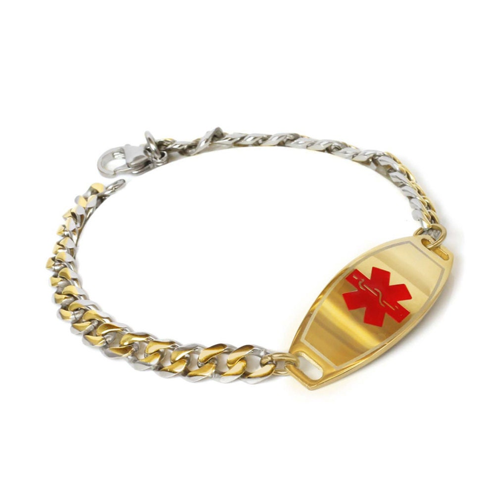 medical id bracelet engraved gold tone plated id gold and