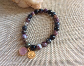 "Tourmaline stone lotus rose quartz bracelet, 7 mm tourmaline stones, stretch 7"""