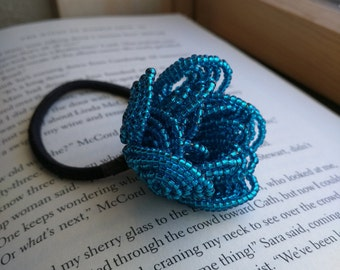 Royal Blue Rose Hair Tie, French Beaded Flower, French Beaded Rose, Floral Hair Elastic, Rose Hair Accessory