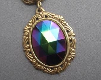 Glass Pendant - Rhinestone Necklace - Vintage Glass Necklace - Cameo Pendant - Romantic Jewelry - Cameo Necklace - Fall Jewelry