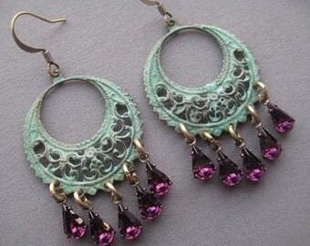 Chandelier Earrings - Bohemian Earrings - Dangly Earrings - Boho Chic Jewelry - Verdigris Earrings - Shabby Chic Earrings - Purple Earrings