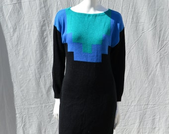 Vintage 80's art DECO sweater dress Aztec design bodycon NEIMAN MARCUS knitted s8-10  by thekaliman