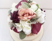 Wedding Cake Topper - White Hydrangea, Pink Rose, Purple Calla Lily, Lambs Ear, Dusty Miller Silk Flower Cake Topper, Wedding Cake Flowers
