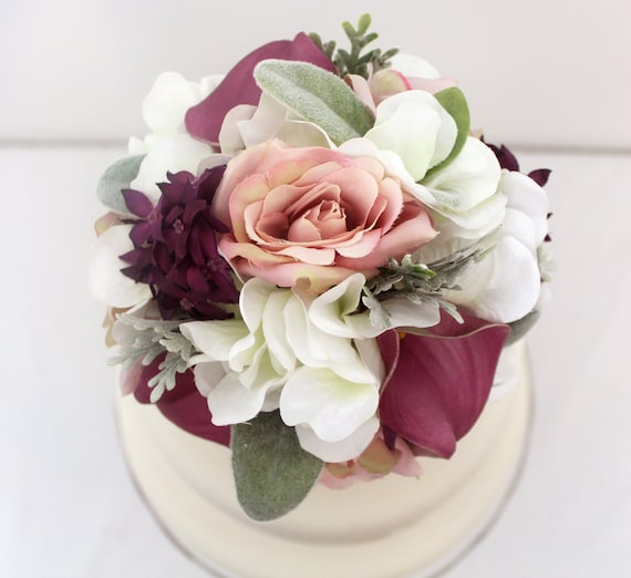 Wedding Cake Topper White Hydrangea Pink Rose Purple Calla