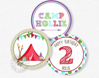 "Glamping Party Centerpiece Circles, Glam Camping Birthday Decorations, Glamping Party Decorations, Printable 4"" Party Circles"