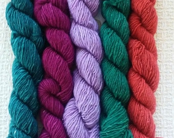 "Hand Dyed Vermont Wool Yarn  ""Set 3"""
