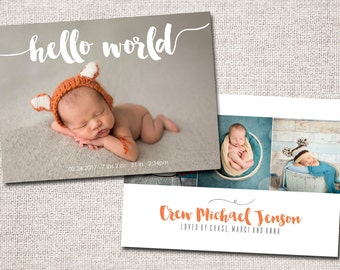 Birth announcement, baby boy announcement, baby girl announcement, baby announcement, modern birth announcement, printable (Hello World)