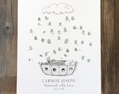 Thumbprint Guest Book, Baby Shower Guest Book Alternative, Noah's Ark, boat with animals and rain, baby boy nursery, w/ 1 mini ink pad
