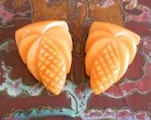 RESERVED for ALIX 1930's Pale Tangerine Bakelite Dress Clips