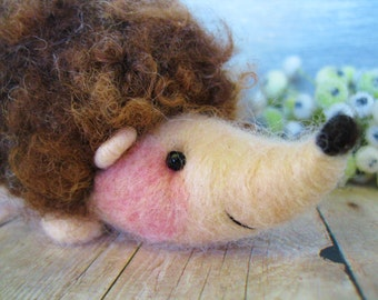 Needle felted hedgehog childrens toy or collectors item fiber art sculpture